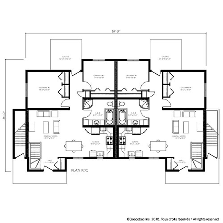 plan 2 maisons jumelées