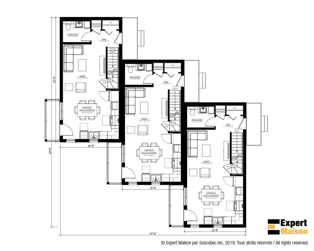 Maison A Etage Prefabriquee Modele 1300 Garage Triplex Action Maisons