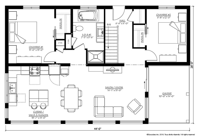 Maison plain-pied préfabriquée (Modèle Maison usinée plain-pied : 756 Ste-Eulalie) - Action Maisons
