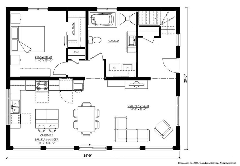 Maison plain pied pr fabriqu e mod le maison usin e plain - Plan maison plain pied 1 chambre ...